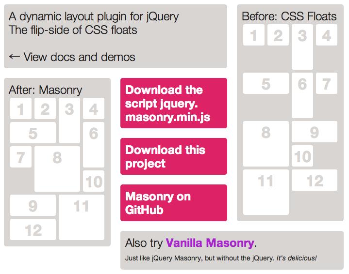 [JS]Pinterestっぽいサイトを作れるjQueryプラグイン「jQuery Masonry」