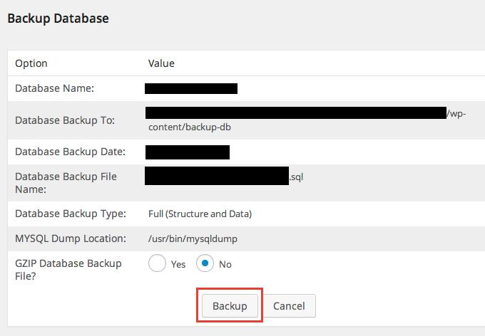WP-DBManager でのバックアップや最適化、復元方法
