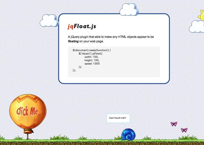 複数の要素を縦にも横にも「ふわふわ」動かすjQueryプラグイン「jqFloat」