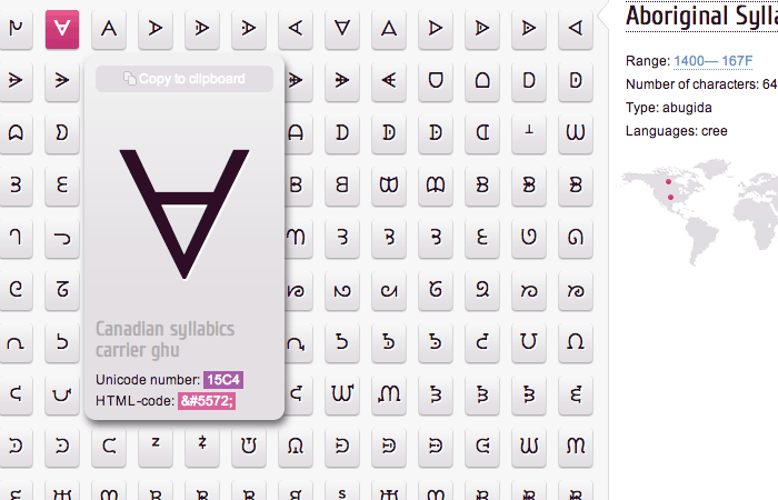 特殊文字やハートマークなど、大量のUnicode 文字を掲載しているサイト「Unicode character table」