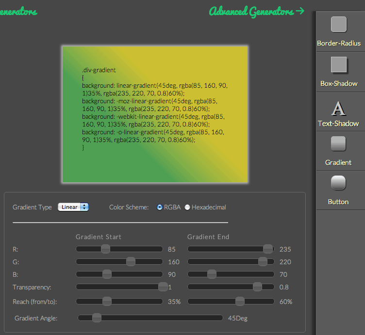 border-radius などのコードをWEB上で簡単に生成できる「CSS3 Generator」