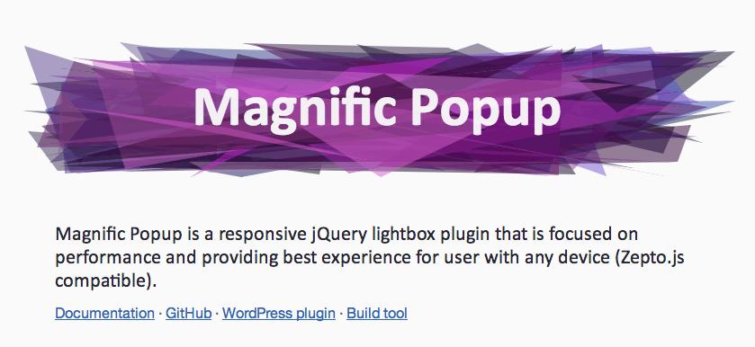 レスポンシブWEB対応で、画像や動画をLightbox 風に表示できる「Magnific Popup」