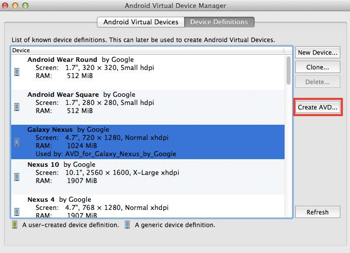 Mac でAndroid仮想デバイス(AVD) の設定方法