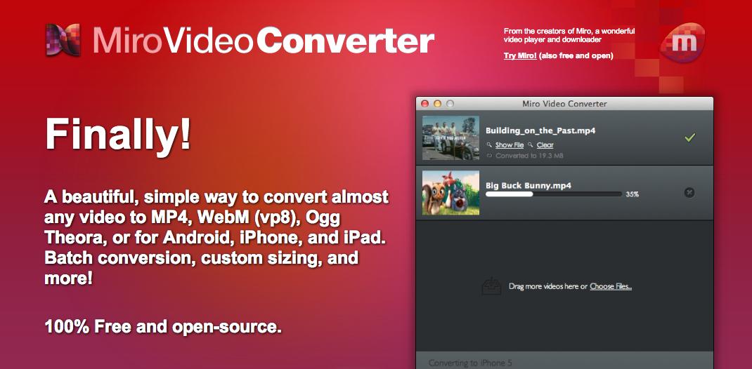 mp4 動画をogg 形式に変換できる「Miro Video Converter」の使い方
