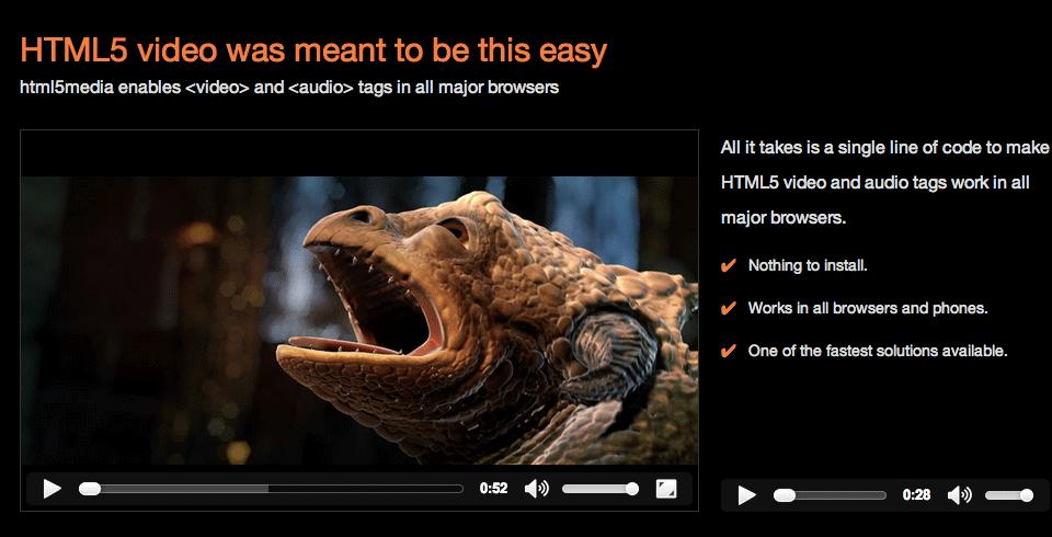 IE8 でもvideo タグが使えるJSライブラリ「html5media.js」